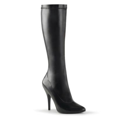 Kniehoher Kunstleder Stiefel schwarz mit Stiletto Absatz