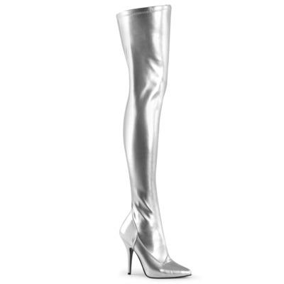 Overknee Stiefel silber mit Reißverschluss