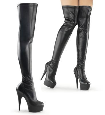 Oberschenkelhohe Stiefel DELIGHT mit Plateau Kunstleder schwarz