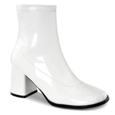 Gogo Stiefelette weiß aus Lack mit Blockabsatz