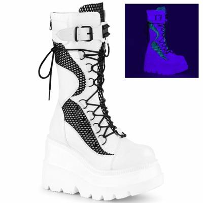 Steampunk Boots mit UV-Licht-Effekt SHAKER-70 weiss