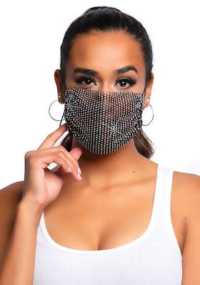 Strass-Mund-Nasen-Schutz schwarz