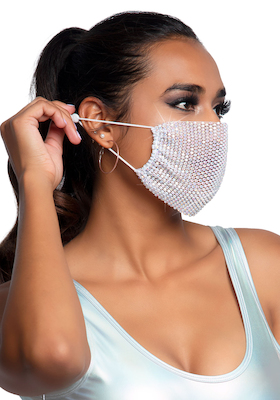 Strass-Mund-Nasen-Schutz weiß