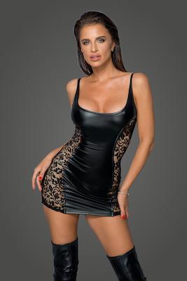 Powerwetlook Kleid mit Spitzeneinsätzen