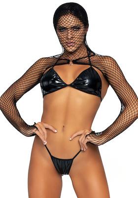 Lack Bikini mit Netz Kaputzen Bolero