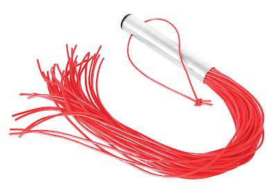 Rote Peitsche mit Metallgriff (42 Riemen)