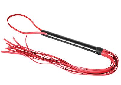 Peitsche mit Holzgriff schwarz-rot