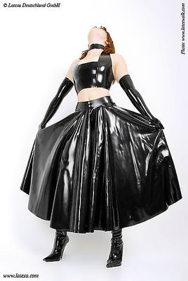 Langer Latex-Swingerrock, vorne offen Latexa 3047