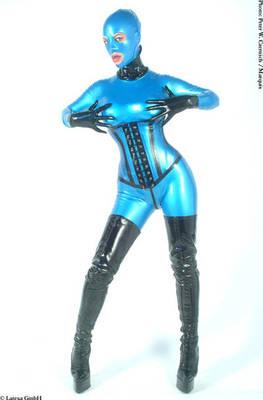 Frauen-Latexcatsuit, figurbetont