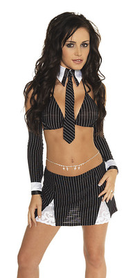 Büro-Kostüm, 7-tlg. schwarz/weiß