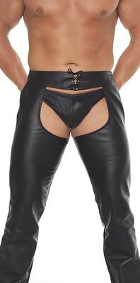 Hose offen Leder schwarz