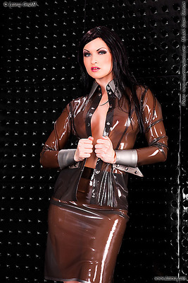 Latexrock mit Kontrastfarbe am Bund Latexa 3255