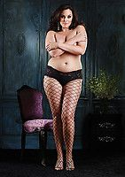 Diamond Fence Net Pantyhose With Sexy Lace Boy Short Top