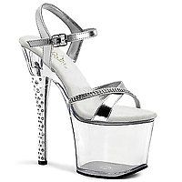 18 cm - 19 cm Heel DIAMOND-715 silber/transparent