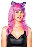Frisky Kitty Long Wavy Wig With Ears And Adjustable Elastic Strap