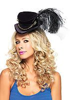 Steampunk Velvet Top Hat With Chain And Feather Accent