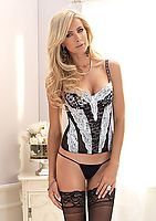 Underwire Padded Lace Bustier With Ribbon Woven Straps