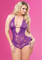 Lace Deep-V Halter Teddy