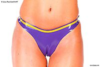 G-string aus Latex mit Kontrastfarbe, geklebt Latexa 3127