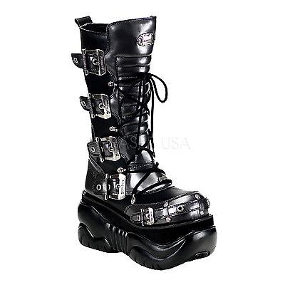 DEMONIA Platform Sandals & Shoes Unisex BOXER-205 schwarz-grey Kunstleder